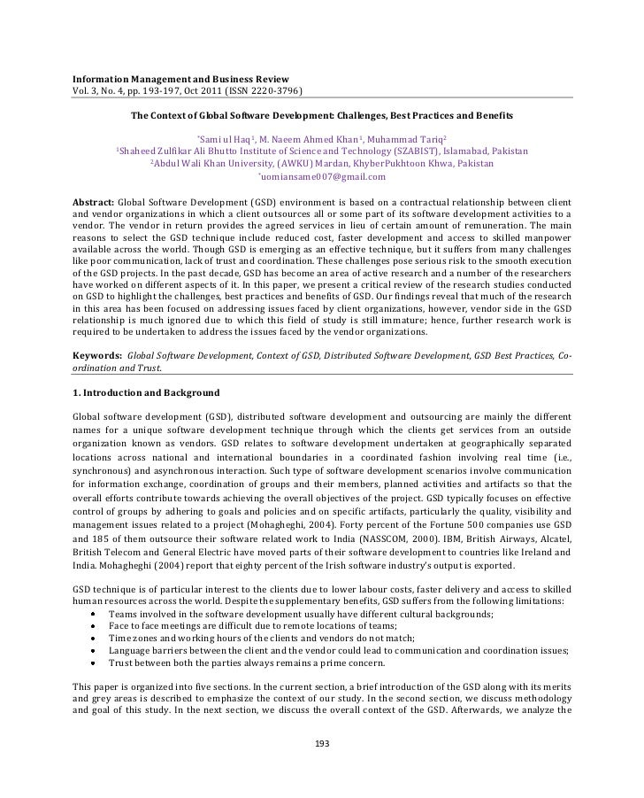 Information Management and Business ReviewVol. 3, No. 4, pp. 193-197, Oct 2011 (ISSN 2220-3796)              The Context o...