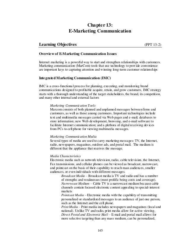 Chapter 13:                      E-Marketing CommunicationLearning Objectives                                             ...