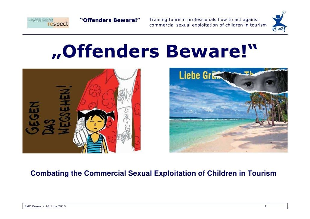 """Offenders Beware!""   Training tourism professionals how to act against                                                  c..."