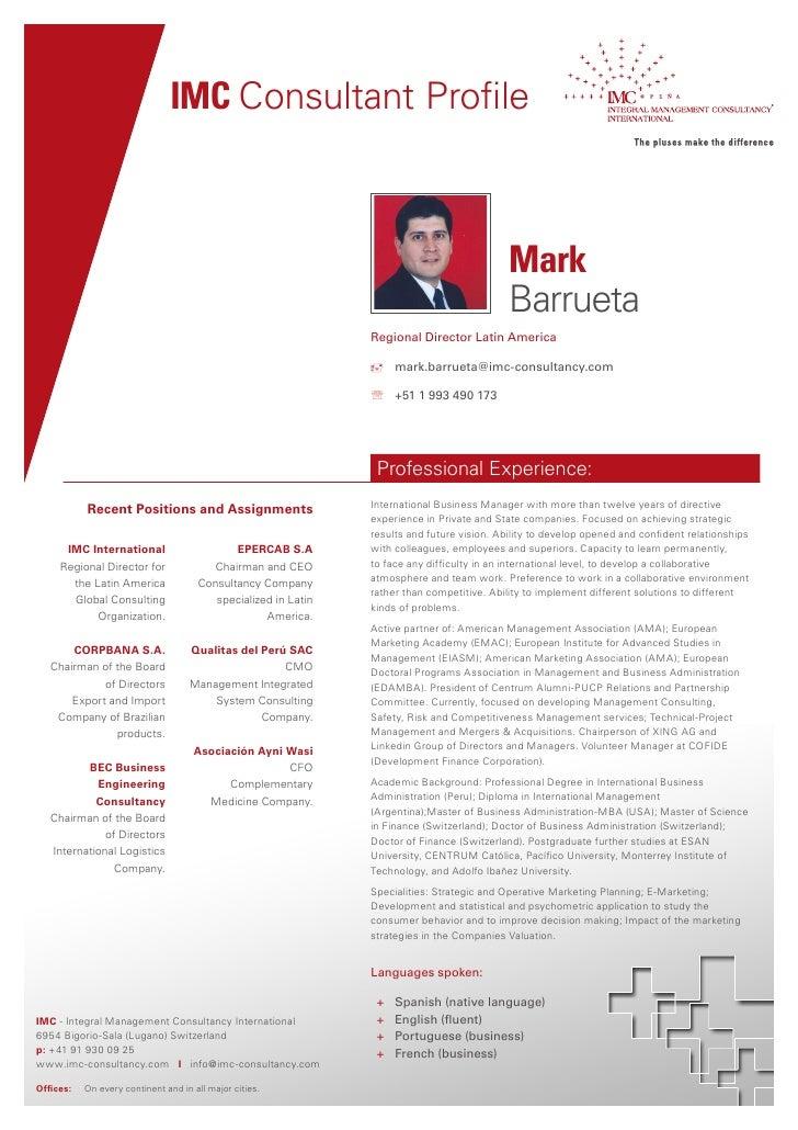 IMC Consultant Profile                                                                                             Mark   ...