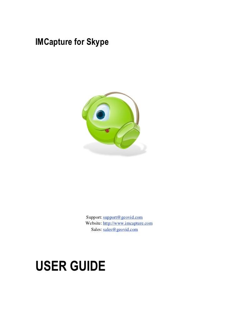 IMCapture for Skype Userguide