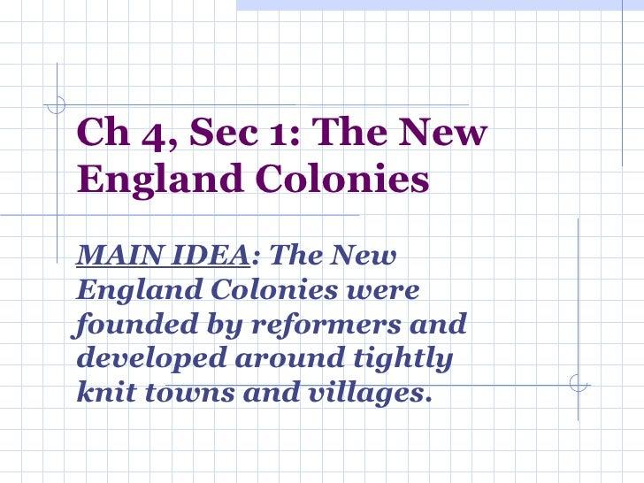 Ch 4, Sec 1 NE Colonies
