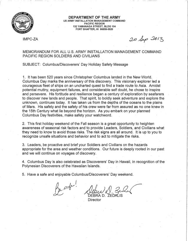 IMCOM Pacific Columbus Day Safety Message 2013