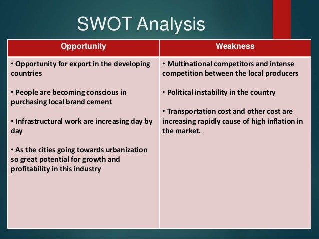 swot analysis for cemex cement company Cemex, sab de cv (cemexcpo) - financial and strategic swot analysis review provides you an in-depth strategic swot analysis of the company's businesses an.