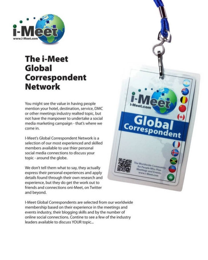 I Meet.Com   Global Correspondent Cover