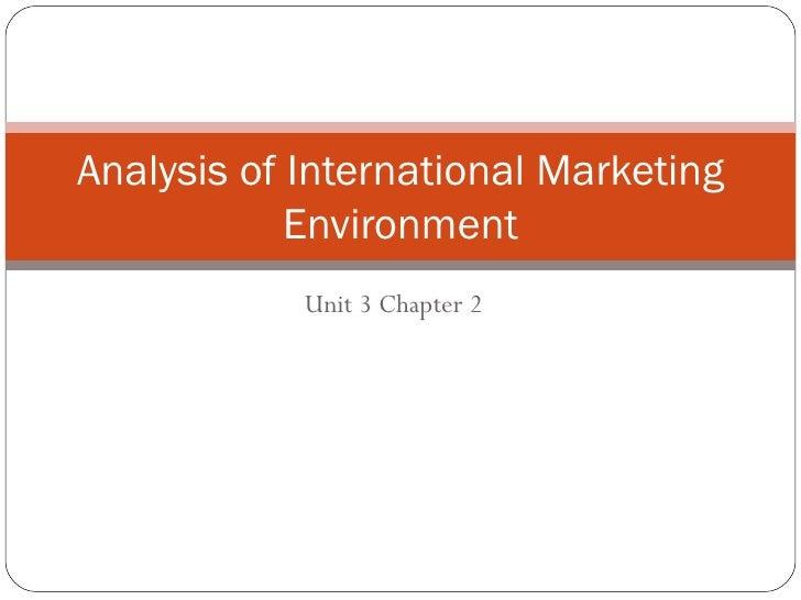 Analysis of International Marketing            Environment            Unit 3 Chapter 2