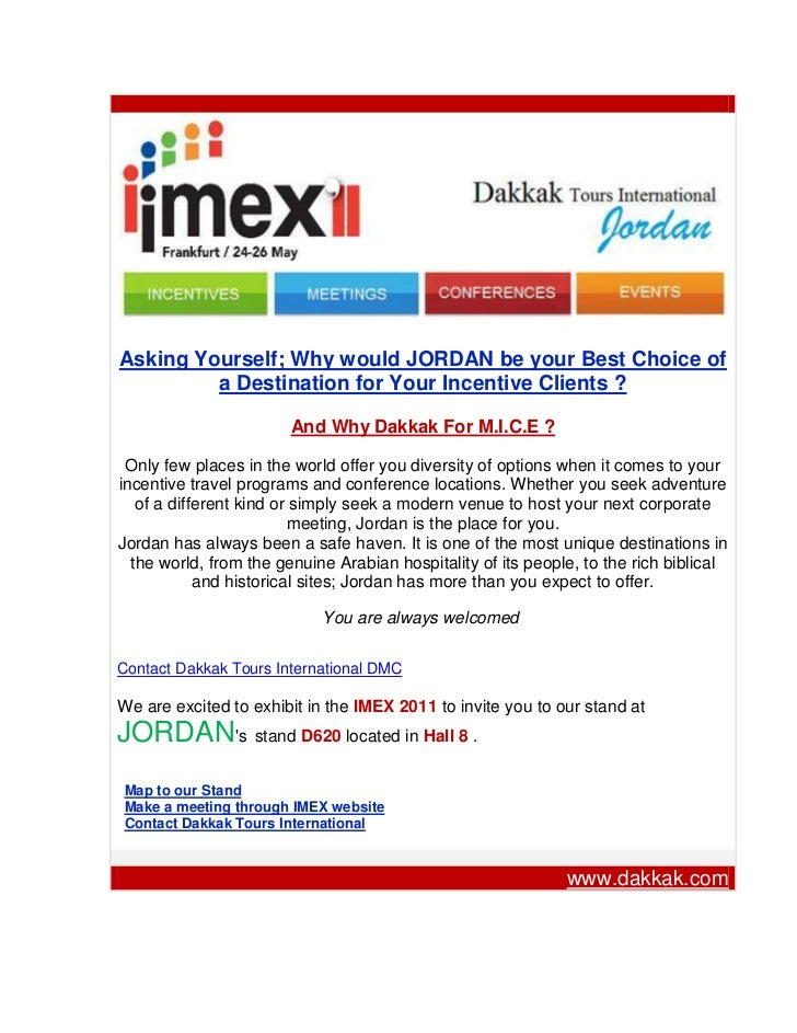 Dakkak Tours International DMC- Jordan in the IMEX 2011 Frankfurt