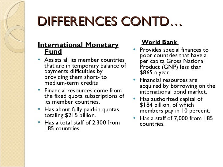 difference between imf and wb
