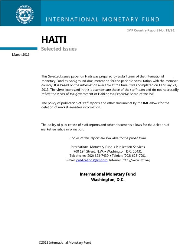 IMF Country Report No. 13/91              HAITI              Selected IssuesMarch 2013              This Selected Issues p...