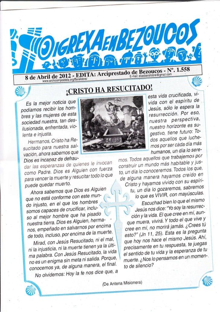 Hoja parroquial del 9 al 15 de abril de 2012