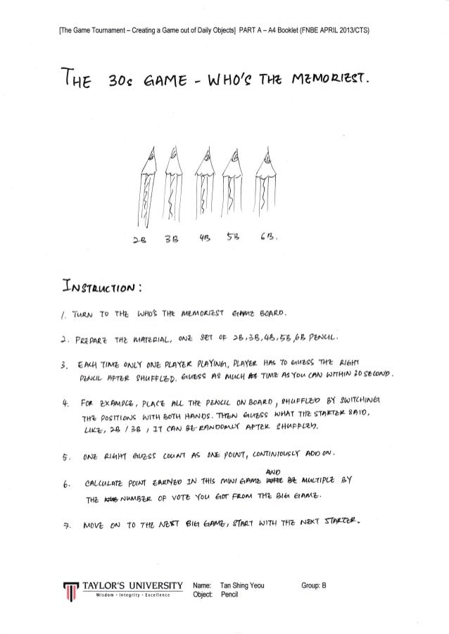 [The Game Tournament - Creating a Game out of Daily Objects] PART A - 44 Booklet (FNBE APRIL 2013/CTS] A AA ffil Wrffl ?g ...