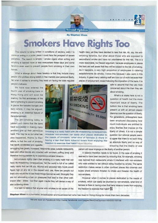 Next Magazine Smokers Have Rights Too by Stephen Vines