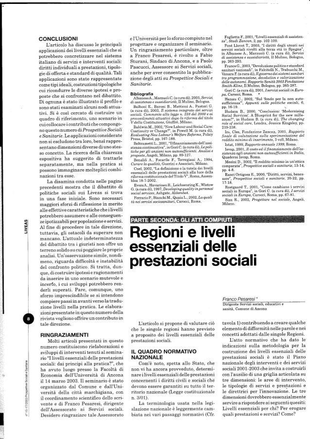 Regioni e livelli essenziali delle prestazioni sociali