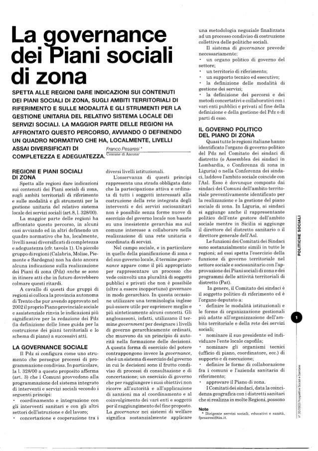 Governo e gestione associata dei piani sociali di zona
