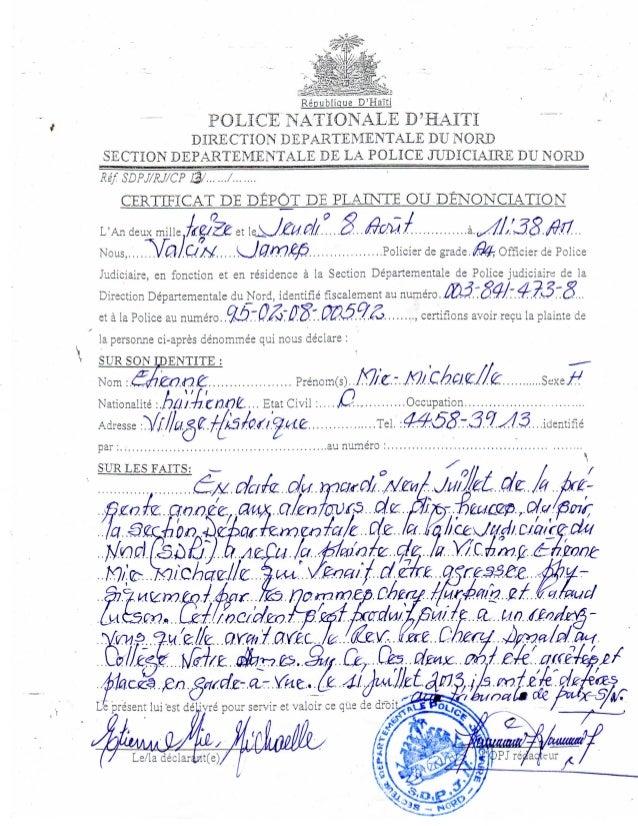 """e D'riaTti POLICE"""" NATIONALS D3HAITI DIRECTION DEPARTEMENTALE DU NORD SECTIQNDEPARTEMENTALE DE LA POLICE JUDICIAIRE DU NQR..."""