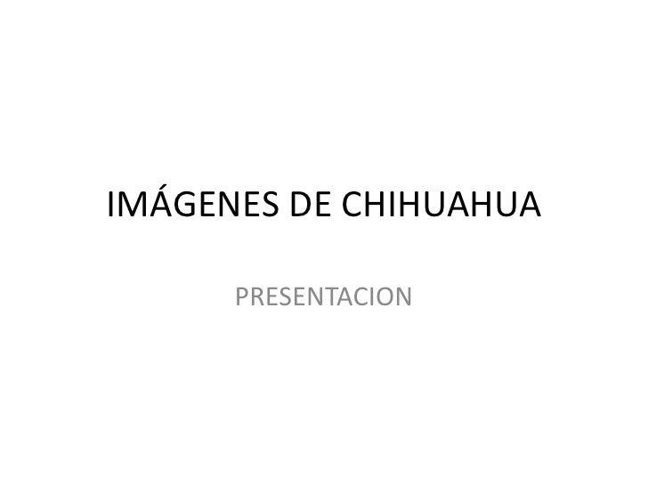 IMÁGENES DE CHIHUAHUA<br />PRESENTACION<br />