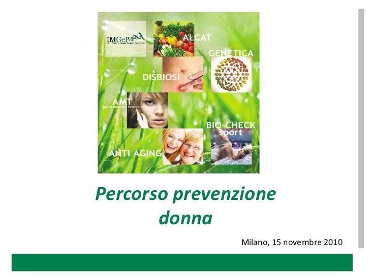 Imgep - Percorso prevenzione donna