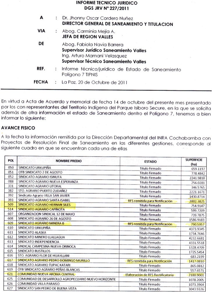 "INFORME IECNICO JURIDICO                                                   DGS JRV N"" 22712011                       A    ..."