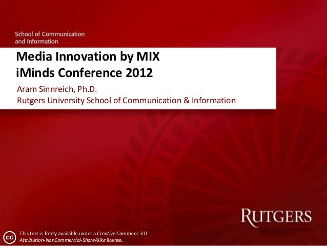 Media Innovation by MIXiMinds Conference 2012Aram Sinnreich, Ph.D.Rutgers University School of Communication & Information...
