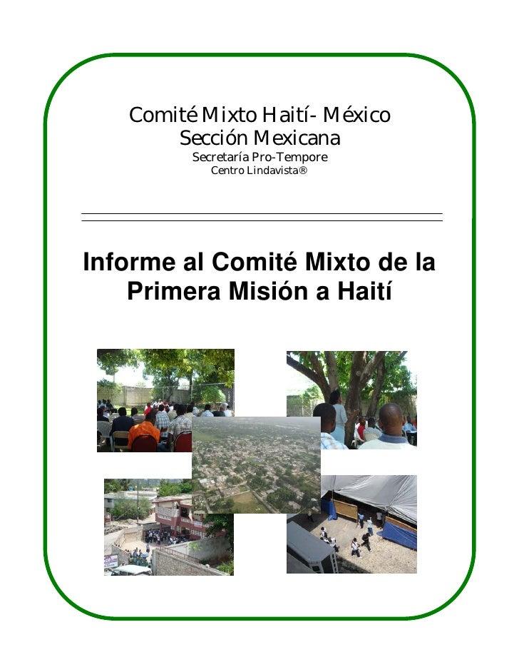 Comité Mixto Haití- México       Sección Mexicana         Secretaría Pro-Tempore            Centro Lindavista®Informe al C...