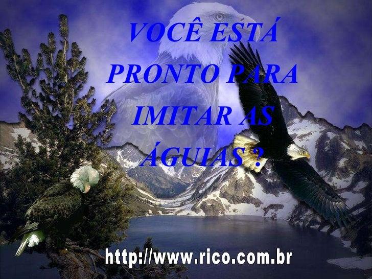 VOCÊ ESTÁ PRONTO PARA IMITAR AS ÁGUIAS  ? http://www.rico.com.br