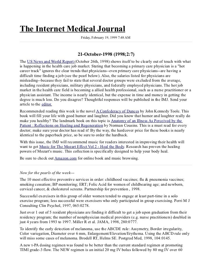 The Internet Medical Journal                                      Friday, February 19, 1999 7:48 AM                       ...