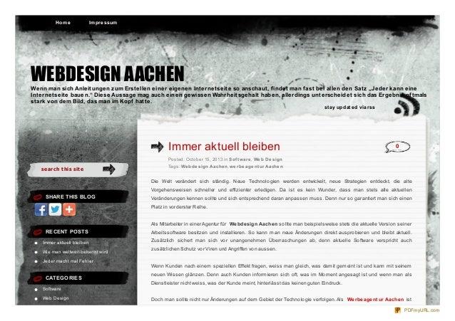 Ho m e  Im pre ssum  WEBDESIGN AACHEN Wenn man sich Anleitungen zum Erstellen einer eigenen Internetseite so anschaut, fin...