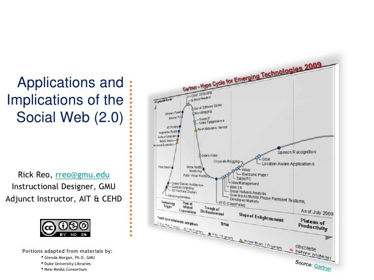 Applications andImplications of the Social Web (2.0)  <br />Gartner - Hype Cycle for Emerging Technologies 2009<br />Rick ...