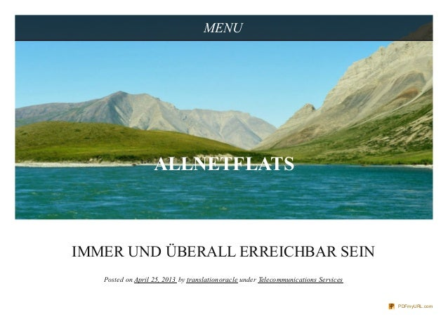 IMMER UND ÜBERALL ERREICHBAR SEINPosted on April 25, 2013 by translationoracle under Telecommunications ServicesMENUALLNET...