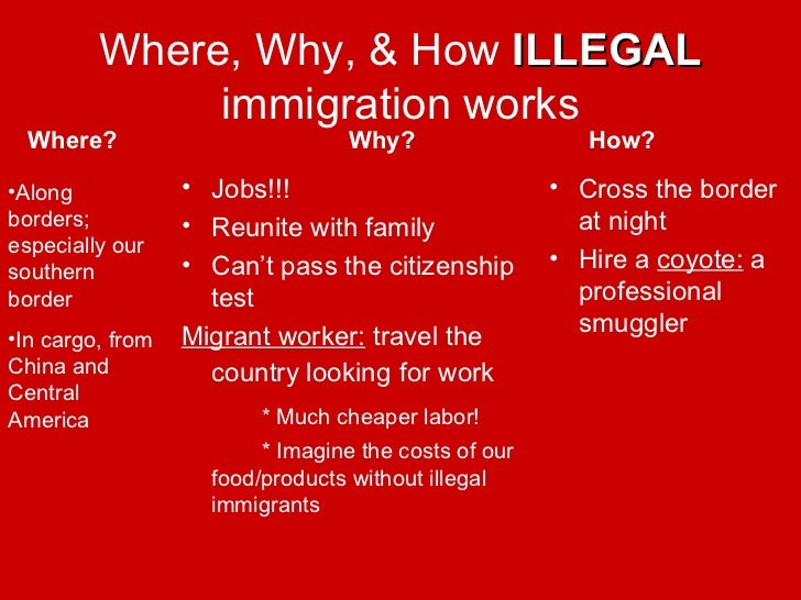 pros and cons on illegal immigration essay Free essay: pro/con illegal immigration picture a scenario where crowds of people surround you you don't know who they are hundreds of people of all.