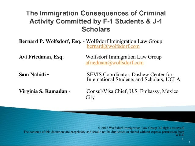Immigration consequences of criminal activity by f1 and j1 scholars