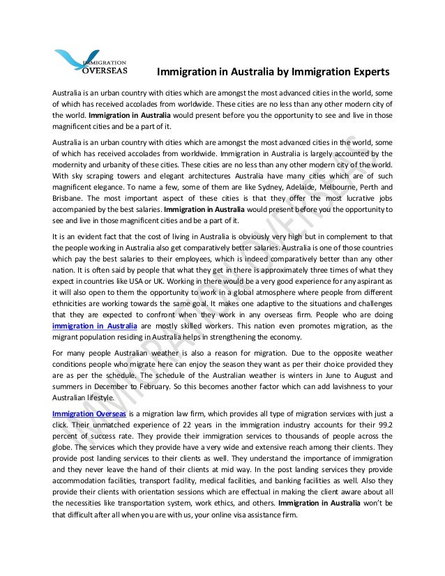 Immigration in australia by immigration experts