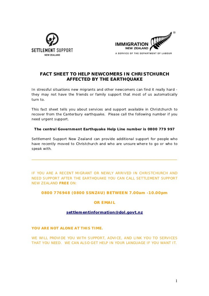 FACT SHEET TO HELP NEWCOMERS IN CHRISTCHURCH             AFFECTED BY THE EARTHQUAKEIn stressful situations new migrants an...