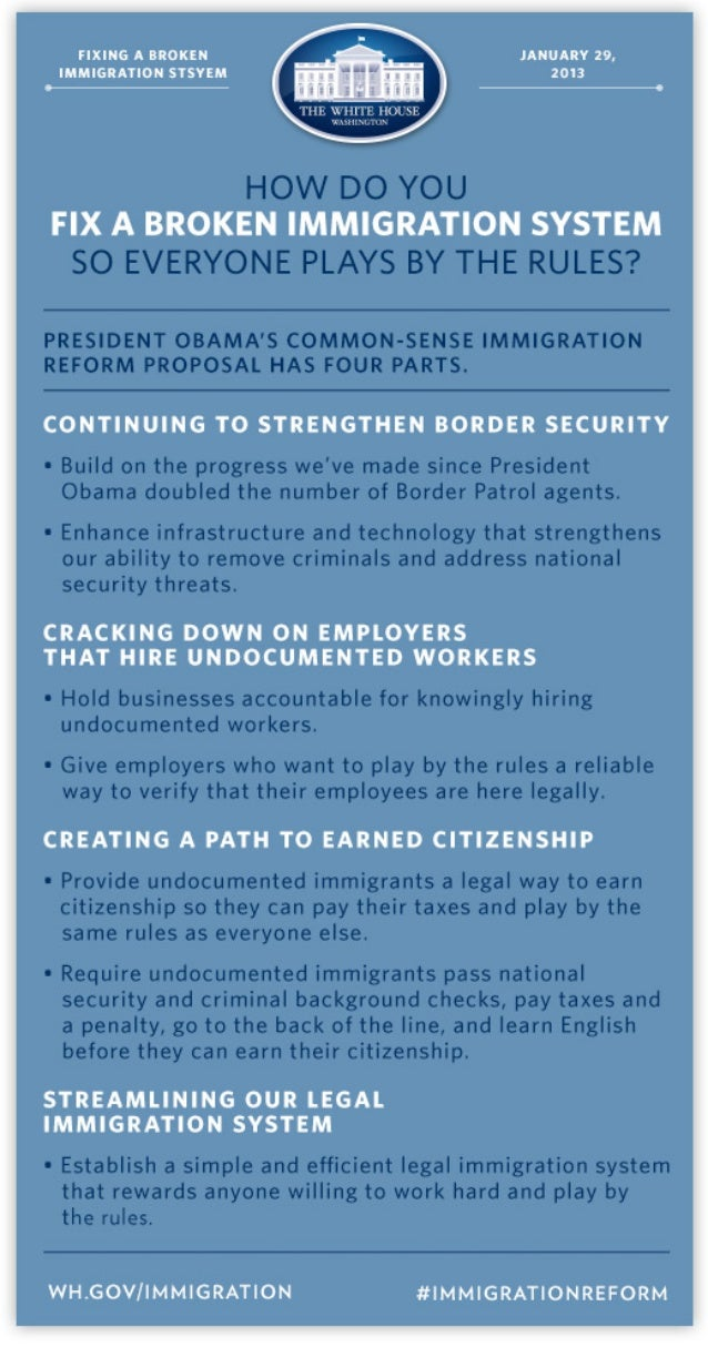 President Obama's Four Part Plan for Comprehensive Immigration Reform