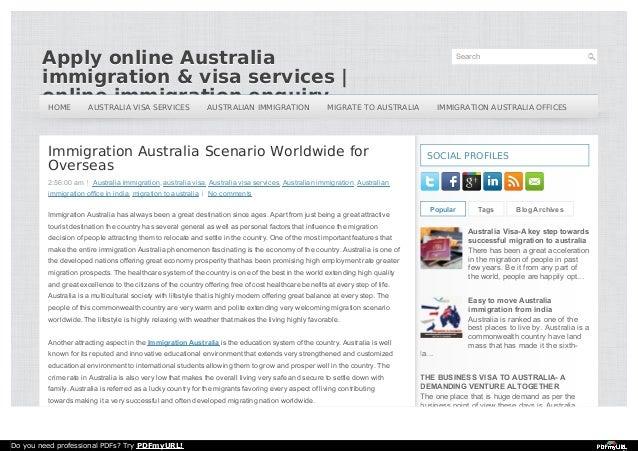 Immigration to Australia Scenario World Wide