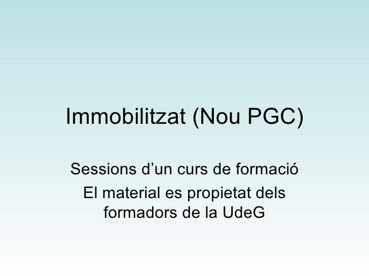Immobilitzat (Nou PGC) Sessions d'un curs de formació El material es propietat dels formadors de la UdeG