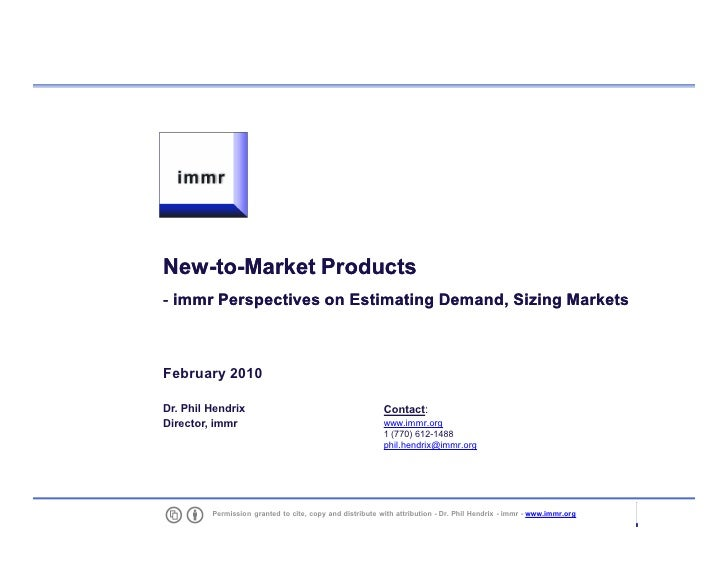 Estimating Potential For New To Market Products 201002