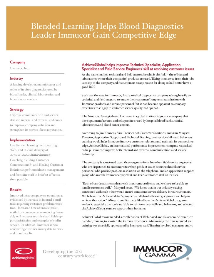 Blended Learning Helps Blood Diagnostics                 Leader Immucor Gain Competitive EdgeCompany                      ...