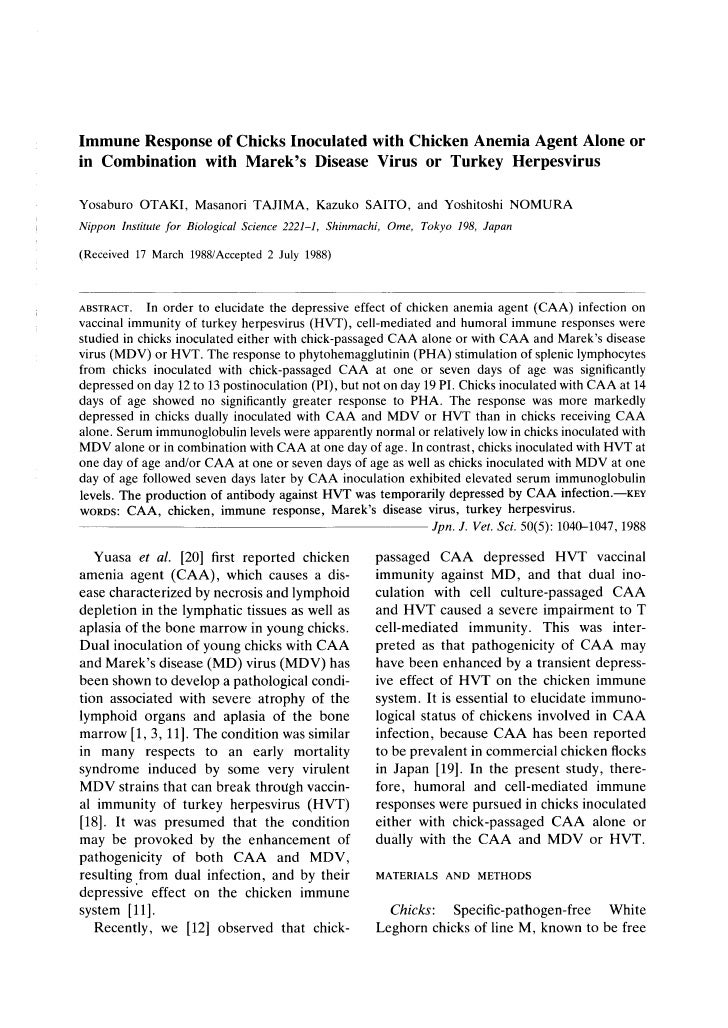 Immune Response Of Chicks Inoculated With Caa Alone Or Combinationwith Mdv