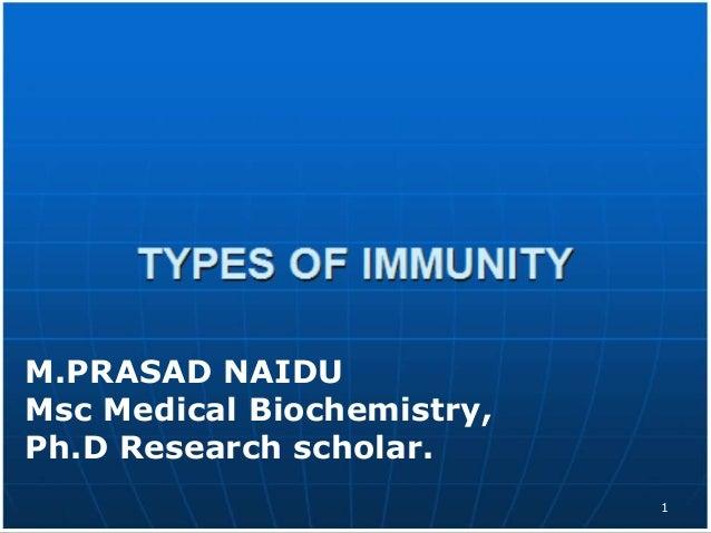 M.PRASAD NAIDU Msc Medical Biochemistry, Ph.D Research scholar. 1