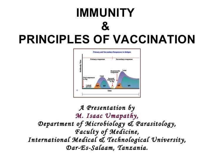 IMMUNITY  &  PRINCIPLES OF VACCINATION A Presentation by M. Isaac Umapathy, Department of Microbiology & Parasitology, Fac...