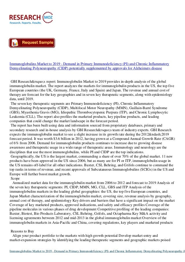Immunoglobulins Market to 2019 - Demand in Primary Immunodeficiency (PI) and Chronic Inflammatory Demyelinating Polyneurop...
