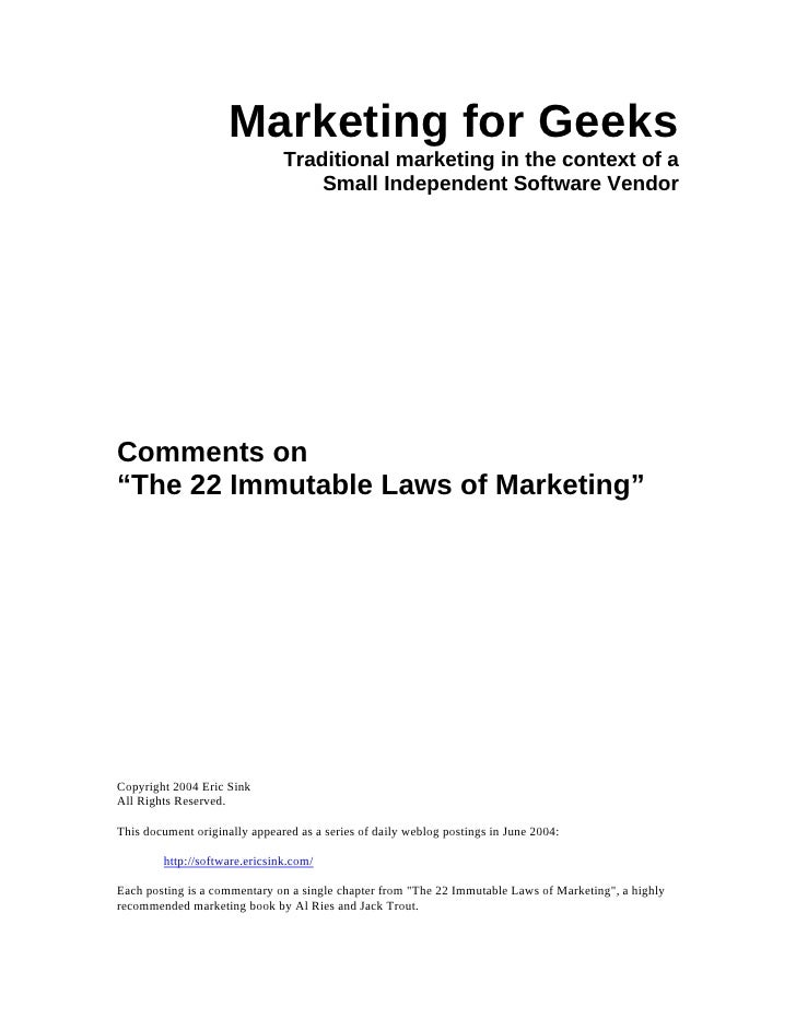 Marketing for Geeks                                Traditional marketing in the context of a                              ...
