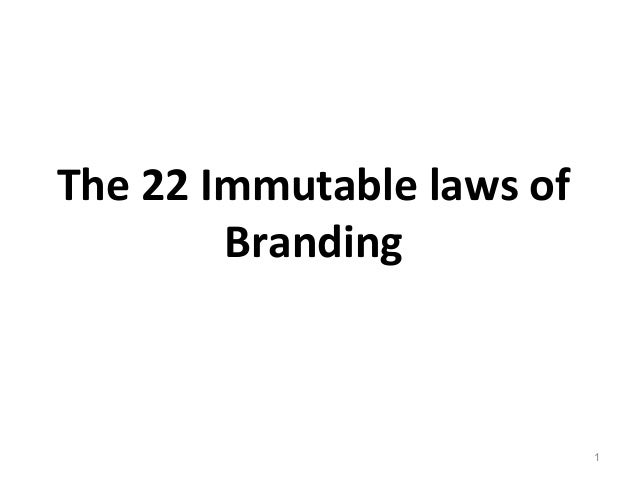 Immutable laws of branding