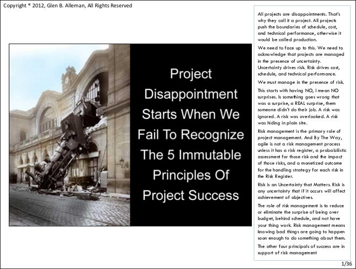 Immutable principles of project management