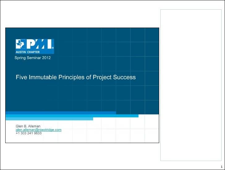 Immutable principles of project management (austin pmi)(v4)(no exercise)