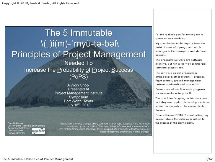Immutable principles of project management (fw pmi)(v4)