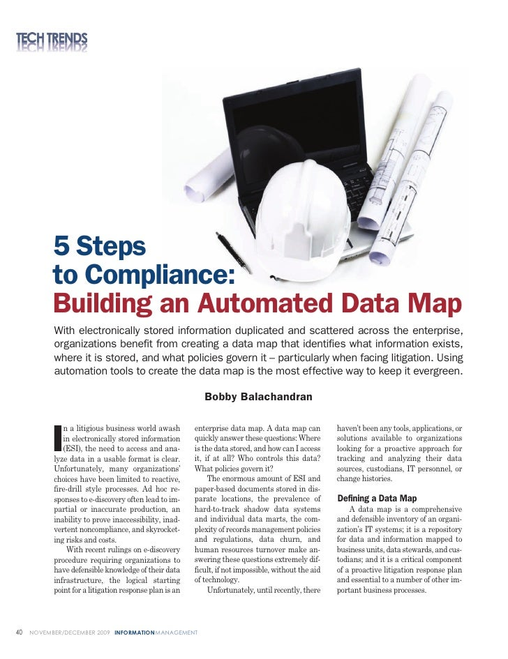 5 Steps            to Compliance:            Building an Automated Data Map            With electronically stored informat...