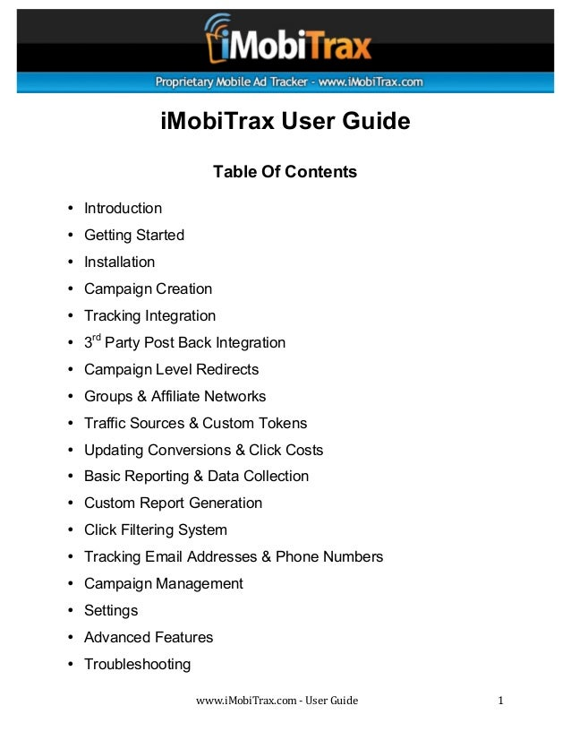 iMobiTrax User Guide                        Table Of Contents• Introduction• Getting Started• Install...
