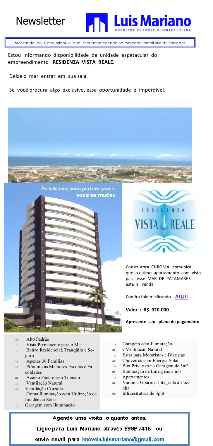 Newsletter   Mostrando ao Consumidor o que esta acontecendo no mercado imobiliário de Salvador   Estou informando disponib...